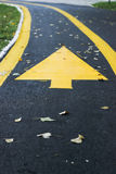 Arrow on asphalt road. Yellow arrow on asphalt road Stock Image