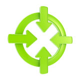 Arrow attention symbol badge isolated Stock Photo