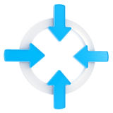 Arrow attention symbol badge isolated Stock Photos