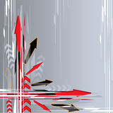 Arrow background. An illustration of red and black arrows on a grayish background Royalty Free Stock Images