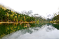 Arrow bamboo lake, Jiuzhaigou, China. Reflection of Arrow Bamboo Lake in Jiuzhaigou, China Stock Photos