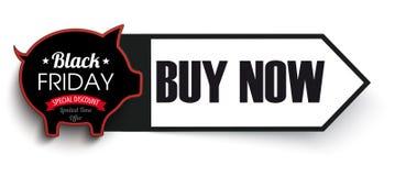 Arrow Banner Black Friday Piggy Bank Royalty Free Stock Photo