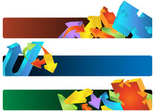 Arrow Banners. Set of three horizontal banners with colorful 3D arrows Stock Photography