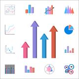 Arrow bar chart icon. Detailed set of Charts & Diagramms icons. Premium quality graphic design sign. One of the collection icons f. Arrow bar chart icon Royalty Free Stock Photos