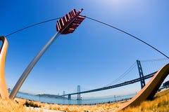 Arrow and Bay Bridge. Bay bridge and bow and arrow sculpture Royalty Free Stock Photos
