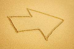 Arrow on beach sand Royalty Free Stock Photo