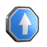 Arrow blue sign. 3d rendering of an arrow symbol. White background Stock Images