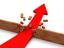 Arrow breaking barrier. 3d illustration of growing arrow breaking wall Stock Image