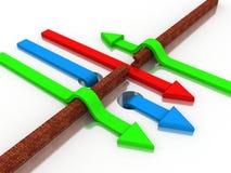Arrow breaking break wall. 3d illustration of arrow breaking break wall, power solution concept Royalty Free Stock Photo