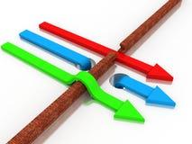 Arrow breaking break wall. 3d illustration of arrow breaking break wall, power solution concept Stock Images