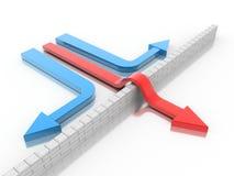 Arrow breaking break wall. 3d illustration of arrow breaking break wall, power solution concept Stock Image