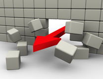 Arrow breaking wall. 3d render of red arrow breaking wall Stock Image