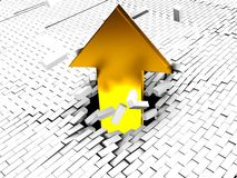Arrow breaking wall. Absract 3d illustration of arrow breaking brick wall royalty free illustration