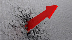 arrow breaking wall Stock Photography