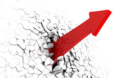 Arrow breaking wall. 3d illustration of red arrow breaking white wall Stock Image