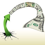 An Arrow Breaks out to Chase Money Stock Photos
