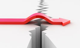 Arrow bridge vector. Red Arrow bridge above earthquake crack vector Stock Images