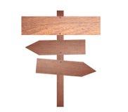 Arrow brown wooden signboard. Stock Photos