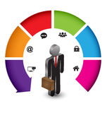 Arrow with business man 3D for business concept Royalty Free Stock Image