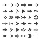 Arrow button icons. Right arrowhead signs. Rewind and next vector symbols. Set of arrow right and forward, directional and orientation pointer illustration Stock Photo