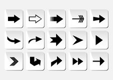 Arrow button set. Illustration of arrow button set in grey and black colors Royalty Free Stock Photos