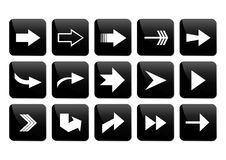 Arrow button set. Illustration of arrow button set in white and black colors Stock Photo