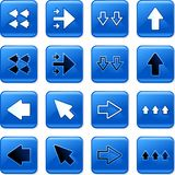 Arrow buttons. Collection of square blue rollover arrow buttons Royalty Free Stock Image