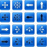 Arrow buttons. Collection of square blue rollover arrow buttons Royalty Free Stock Photography