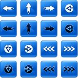 Arrow buttons. Collection of square blue rollover arrow buttons Stock Photography