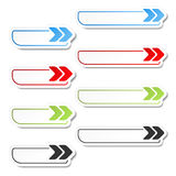 Arrow buttons. Black, green, blue and red arrows on the white simple stickers, rectangle with rounded corners. Royalty Free Stock Photography