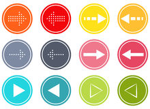 Arrow buttons set. Set of 12  buttons with 6 different types of arrows Stock Photo
