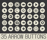 Arrow buttons vector. 35 arrows buttons. Vector 10 eps Stock Photography
