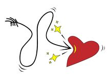 The arrow can not pierce the heart on a white background. Royalty Free Stock Photo