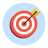 Arrow in center of board. Flat target icon. Isolated on white background Stock Image