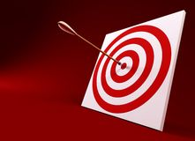 Arrow in the centre of tagret. 3d rendering of the arrow and target royalty free illustration