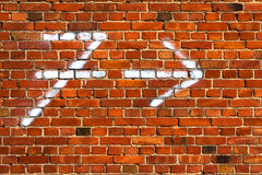 Arrow chalk written number seven wall red brickbackground Royalty Free Stock Photography
