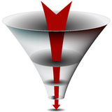 Arrow Chamber Funnel Chart. An image of an arrow passing through a 3d funnel chart Stock Photo