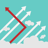 Arrow changing direction and white ones. New idea, change, trend, courage, creative solution, innovation and unique way concept. Stock Photos
