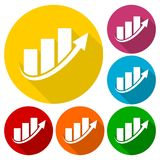 Arrow chart business finance blue logo, icons set with long shadow. Vector icon Stock Images