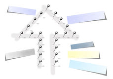 Arrow with chrome pins and post it Royalty Free Stock Photos