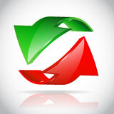 Arrow circle. Eco green and red Stock Images