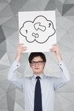 Arrow in cloud. Businessman holding poster with drawing arrow in cloud Stock Image