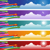 Arrow with Clouds Background Set Royalty Free Stock Photo