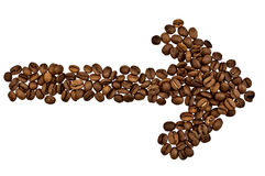Arrow from the coffee beans Stock Photo