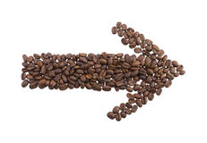 Arrow from the coffee beans Royalty Free Stock Images