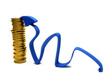 Arrow with coins Royalty Free Stock Photo