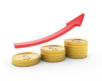 Arrow and coins Stock Photography