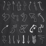 Arrow collection by chalk drawing Stock Images