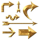 Arrow Collection Gold Metal Stock Image