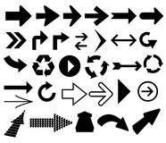 vector arrow shapes in various styles. Royalty Free Stock Photography